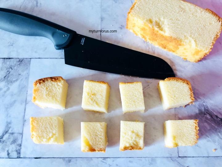 cut up pound cake