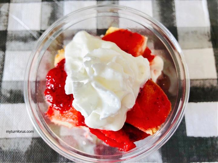single serving strawberry shortcake dessert