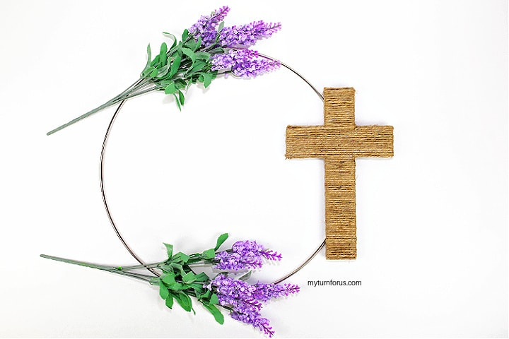 Hot glue cross to wreath and gauge lavender