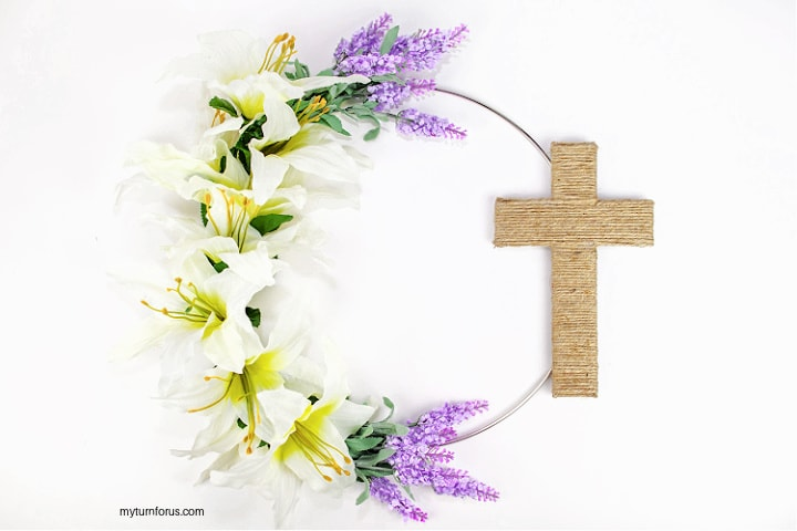religious easter wreath with cross and lilies and lavender