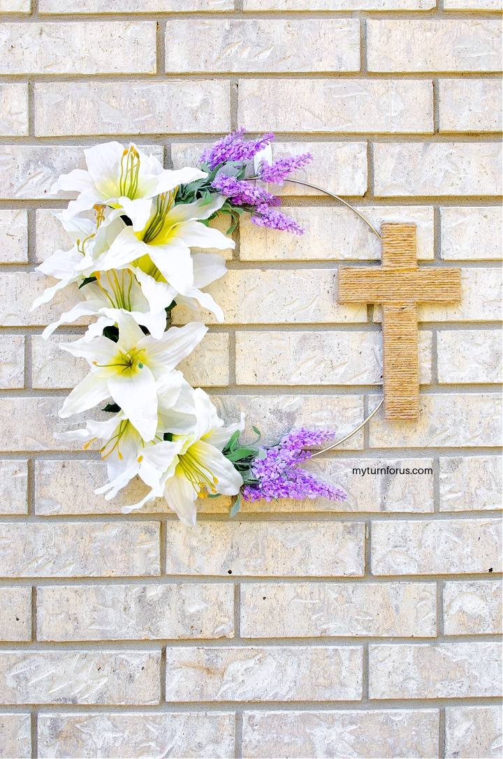 Religious Easter Wreath with lilies and a jute cross