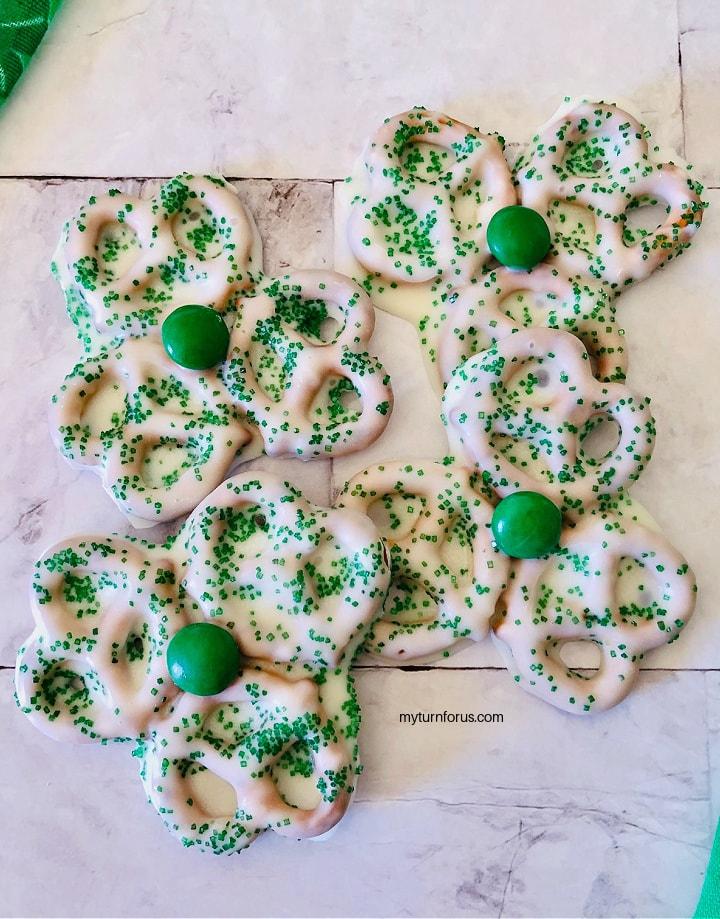 candy coated shamrocks, shamrock shaped treat