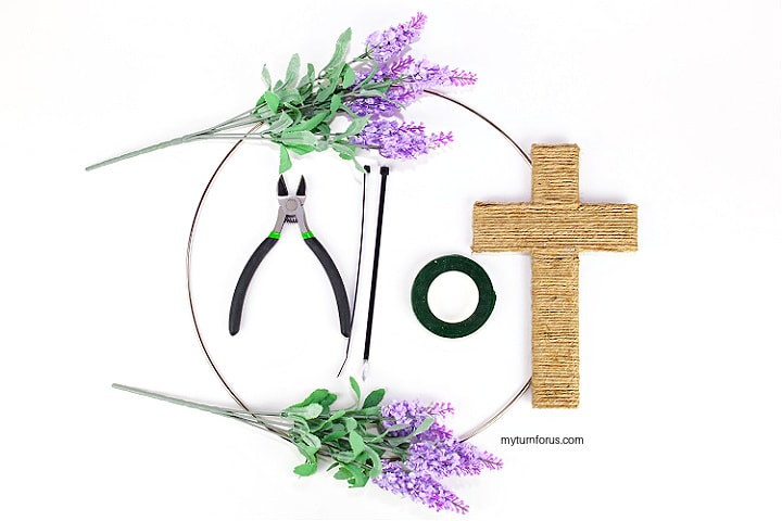 Tools to add Lavender picks to easter wreath