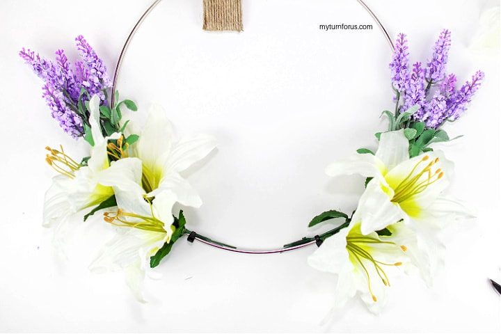 Zip Tie Lilies to our Christian Wreath