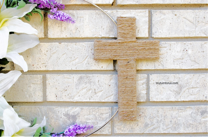 christian easter wreath with cross