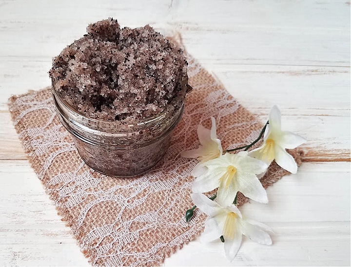 coffee body scrub in a mason jar