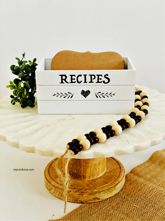DIY recipe box on a stand with farmhouse beads