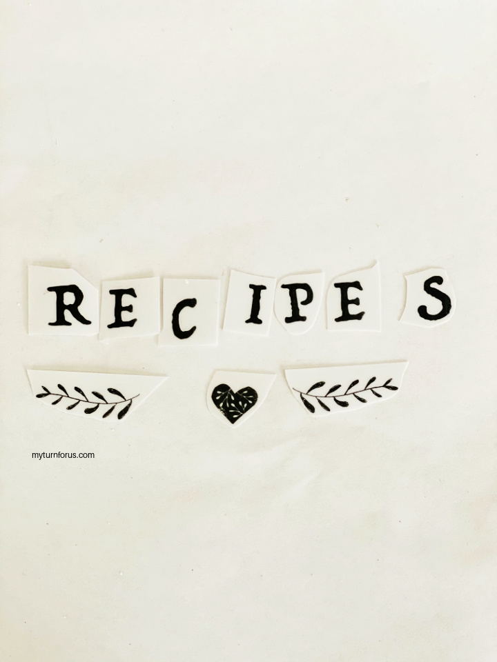 """Laying out the letters """"Recipes"""" and the design"""