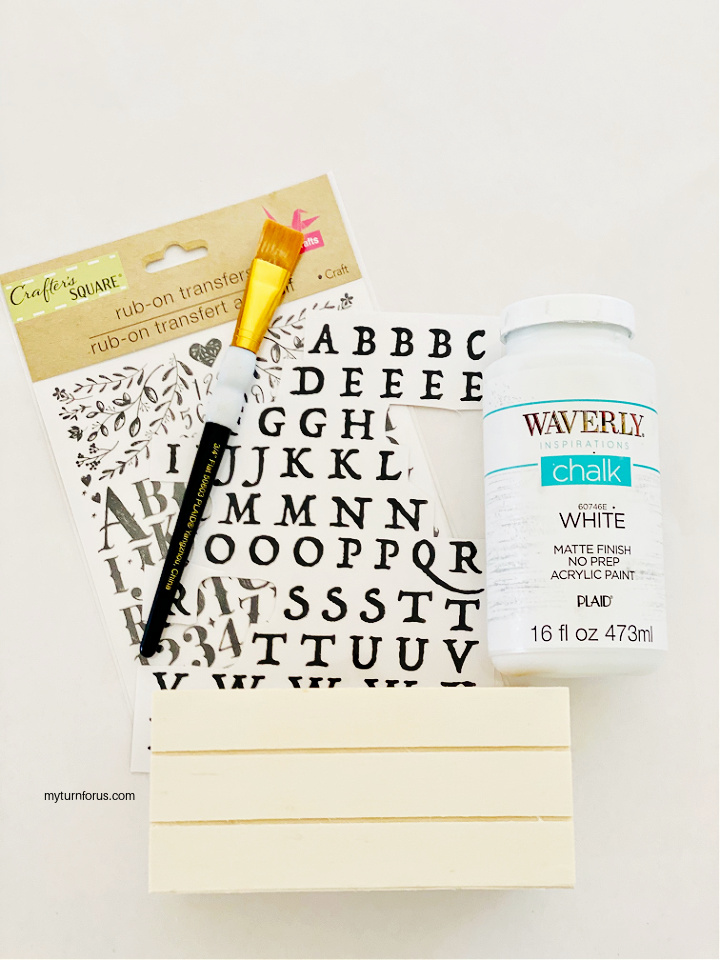 craft paintbrush, small crate, rub on letters, craft paint