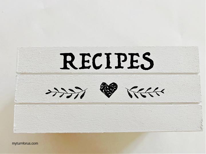 DIY farmhouse recipe box