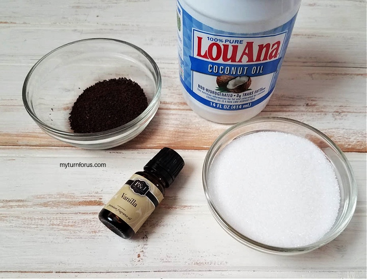 coffee grounds, coconut oil, sugar and vanilla essential oil